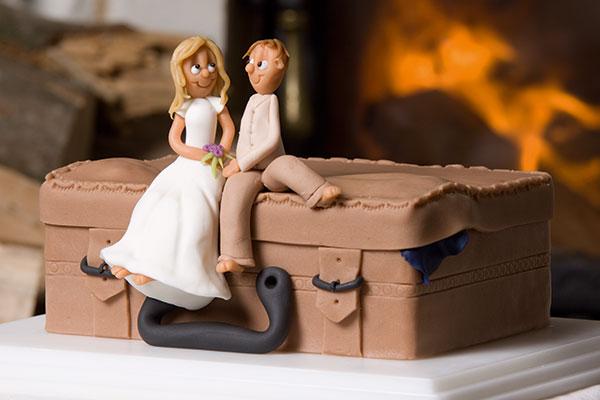Kuffertkage-bryllupskage